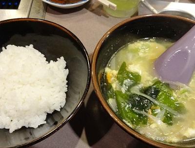 〆のご飯と辛スープ