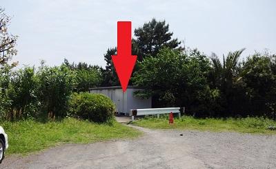 ふれーゆ裏釣り場駐車場から入り口場所